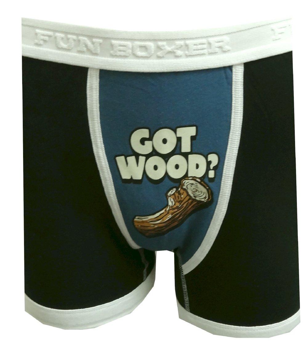 Fun Boxers Mens Fun Prints Crotch Print Boxer Briefs Got Wood Small