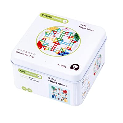 Portable Game for Trip Iron Box Wooden Educational Early Education Toys 3D Puzzling Cube Building Toys Kids 2 3 4 5 Years Old Best Gift Toys (Flight Chess): Toys & Games
