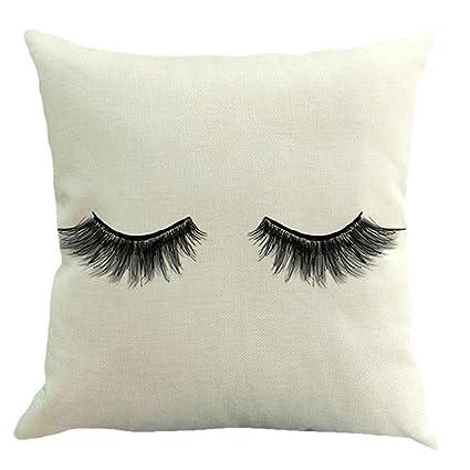 hlhn pestañas patrón diseño funda de almohada de algodón lino cuadrado funda cintura manta funda para