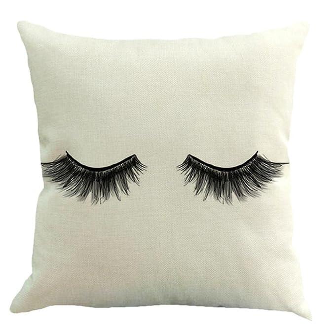 hlhn pestañas patrón diseño funda de almohada de algodón lino ...