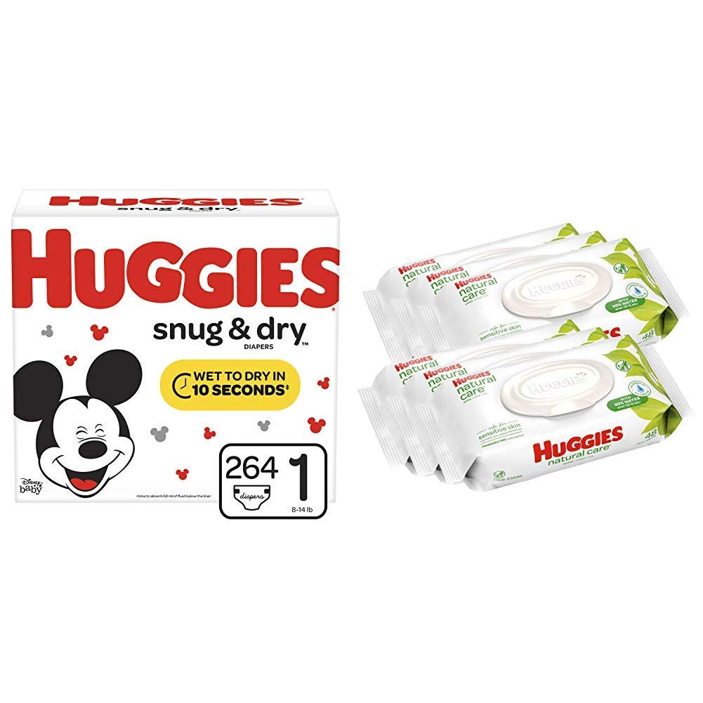 HUGGIES Snug & Dry Baby Diapers, Size 1 (fits 8-14 lbs.), 264 Count AND Natural Care Unscented Baby Wipes, Sensitive, 6 Disposable Flip-top Packs (288 Total Wipes)