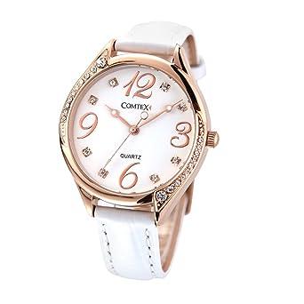 d16260c16 Image Unavailable. Comtex Women's Watches Quartz with White Leather Strap  Rose Gold Case Fashion ...