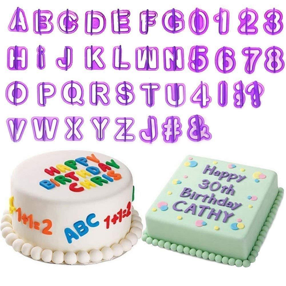 Set de moldes para fondant MoNiRo de 98 piezas: letras, números y formas para repostería. Decoración de tartas. Utensilios de modelaje para decoración de ...
