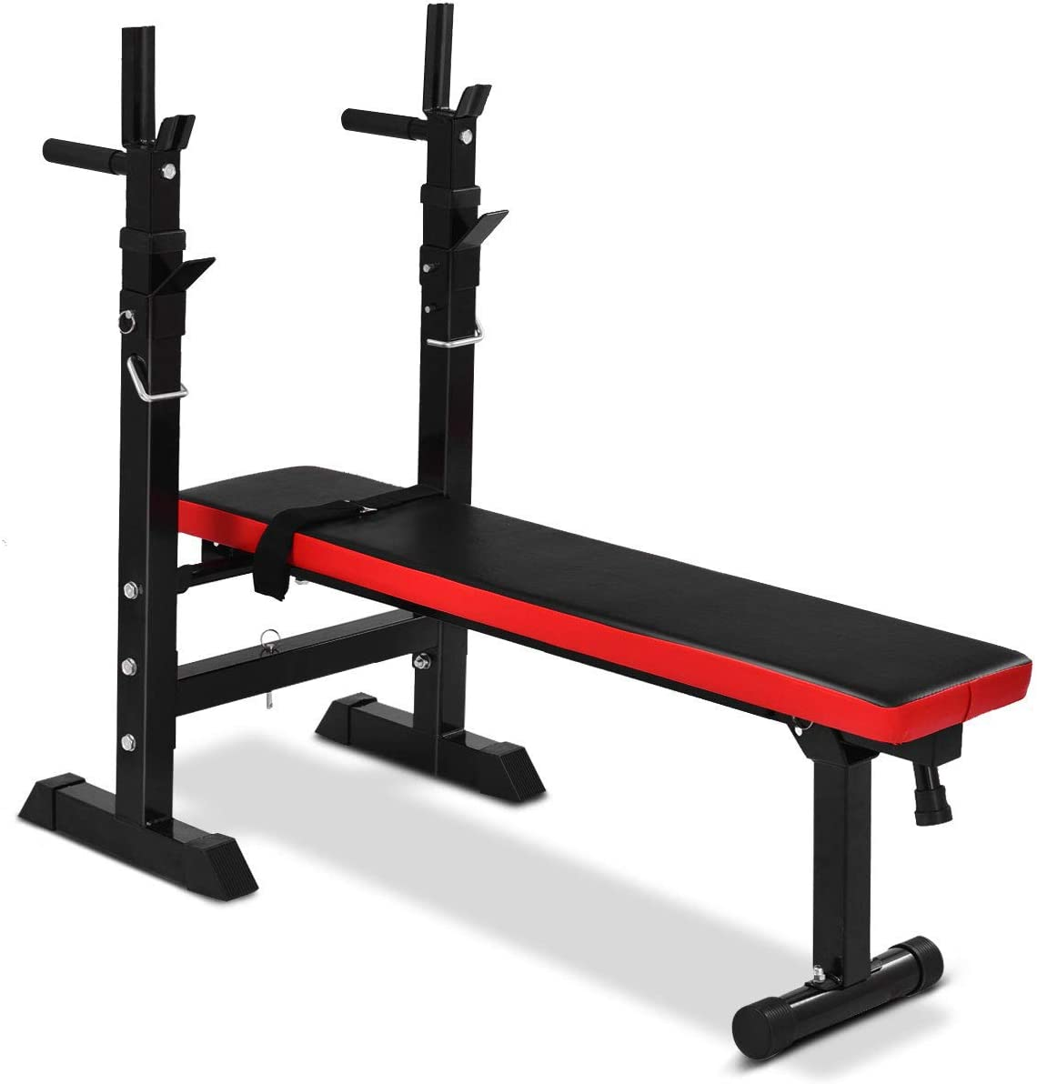 GYMAX Weight Bench Adjustable, Foldable Lifting Bench with Barbell Rack for Full Body Exercise, Multi-Function Workout Incline Bench for Commercial and Home Use, 440 Weight Capacity