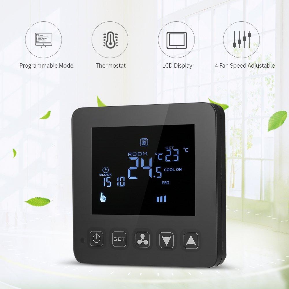 Decdeal Programable Termostato de Aire Acondicionado 2 Tubos 4 Tubos Controlador de Temperatura LCD Táctil Pantalla Suelo Radiante 3A 7 Días 4 Períodos ...