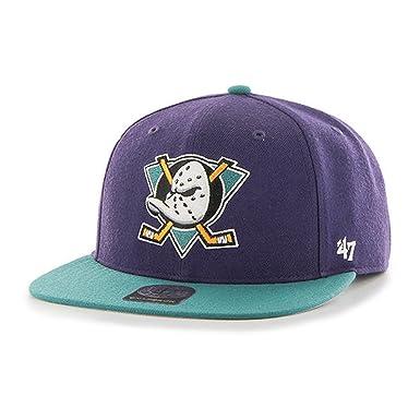 a099a72de1b  47 YOUTH Brand Cap – NHL Anaheim Ducks Captain Snapback Purple Teal size