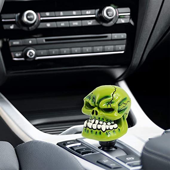 Black+Gold ZCWP Skull Handle Gear Shifter Knob Universal Transmission Shift knob Fit for Most Manual Transmission and Automatic Transmission Without Lock Button