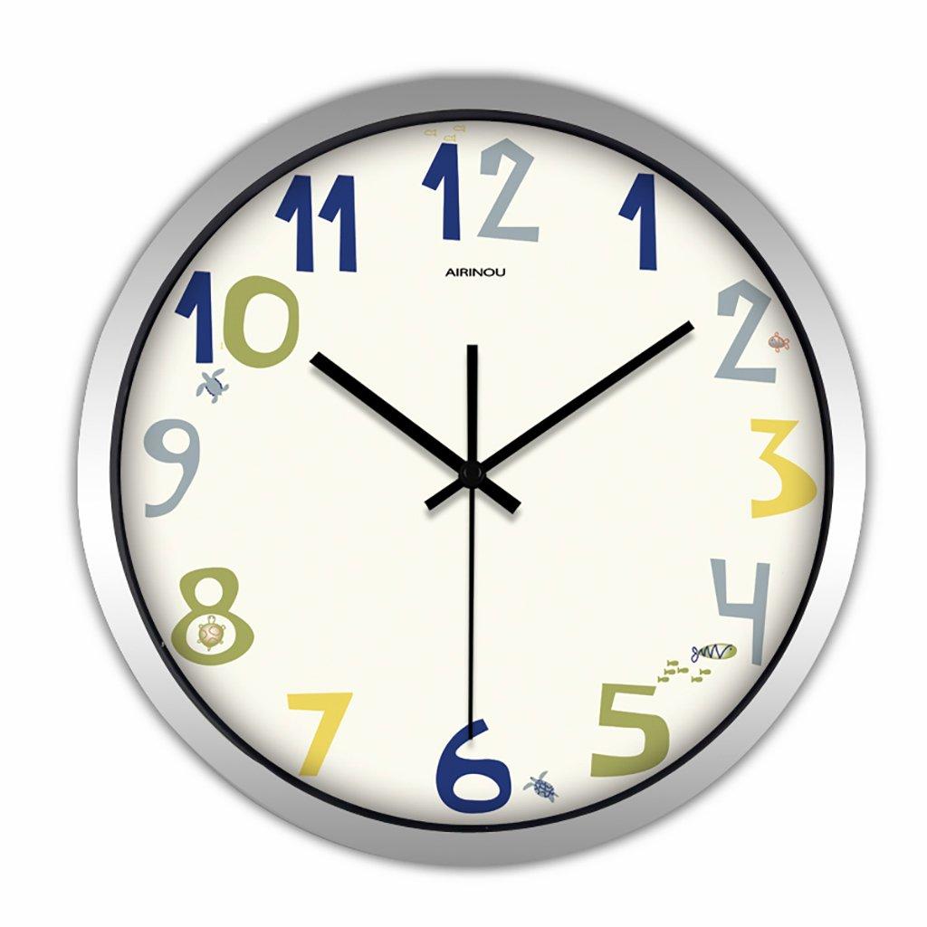 ベッドルームラウンドパーソナリティシンプルな静かなウォールクロックリビングルームクリエイティブ現代の時計クォーツ時計 (色 : 1, サイズ さいず : 12in) B07FV99DRM 12in|1 1 12in