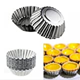 Non-Stick Egg Tart Molds - Reusable Baking Tinplate Round Muffin Cups for Baking