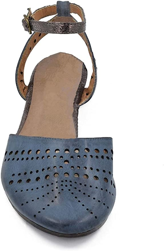 Greatonu Damen Gladiator Sandalen Vorne Geschlossene Sandalen Flach