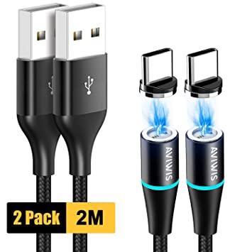 AVIWIS Cable Magnético Tipo C, [2Pack 2M] Cargador Tipo C ...