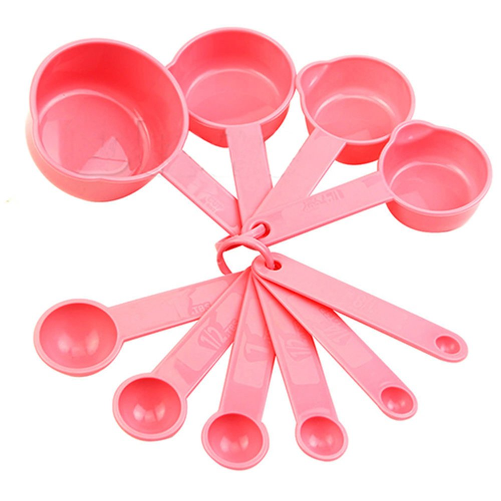 10Pcs Cute Baking Cup Kitchen Coffee Spoon Set Tablespoon Cooking Measuring Tool Pink by Phoenix b2c