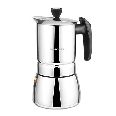 Stovetop Espresso Maker - Moka Pot 6 Cups Demitasse Espresso Shot - Stainless Steel - AMFOCUS