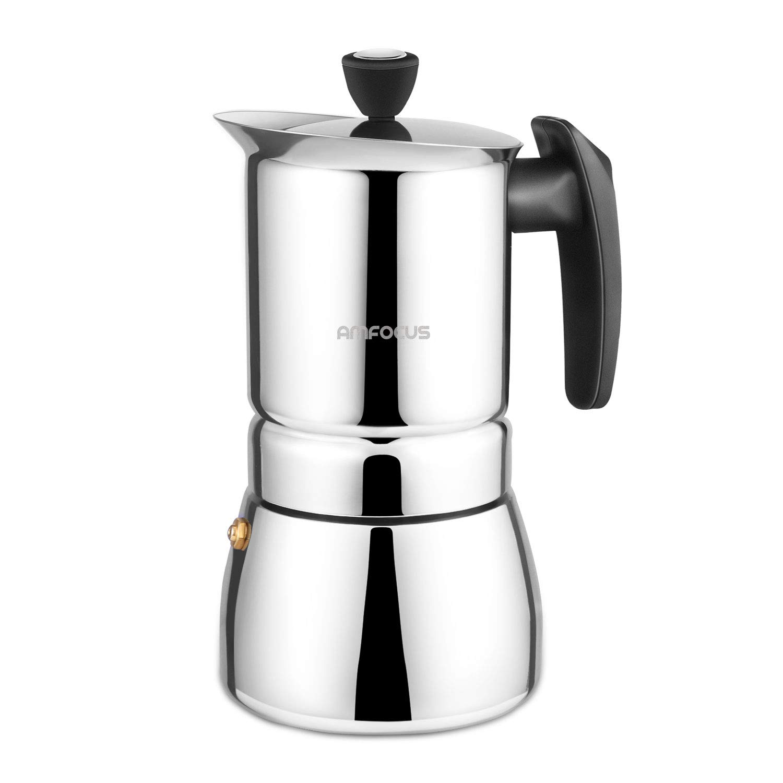 Stovetop Espresso Maker - Moka Pot 6 Cups Demitasse Espresso Shot - Stainless Steel - AMFOCUS by AMFOCUS