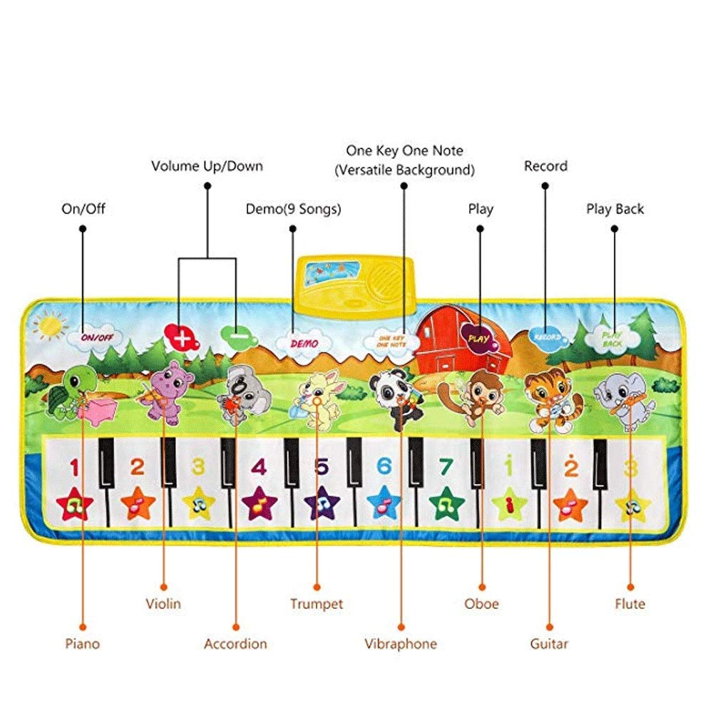 Mopoq Fresh Family Piano Mat Children's Music Mat Dance Mat Educational Toys Birthday Christmas Easter Boys And Girls Gifts Children Early Learning Puzzle Foot Steps Grand Piano Dance Mat Music Mat Pa by Mopoq (Image #4)