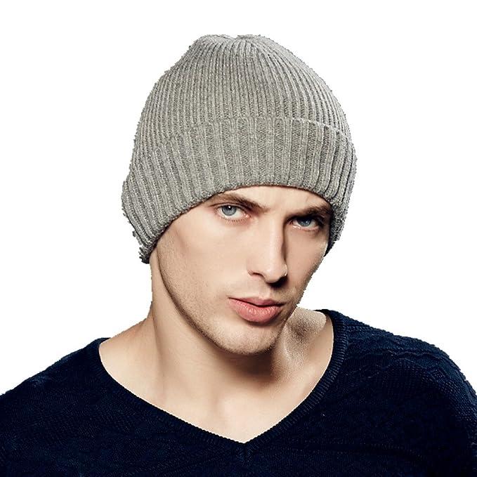 Kenmont Autumn Winter Men Wool Knit Skull Cap Beanie Hat Cuff Tam (Grey) 57ab565987b