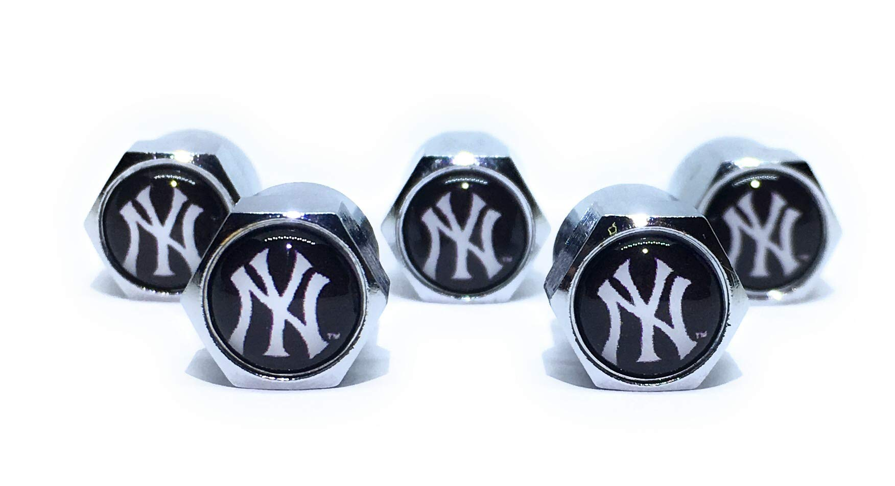 Buycleverly New York Yankees NY Metal Tire Valve Stem Caps Set/5 Pcs for Cars Sedan SUVs Compacts Luxury Pickups Truck Motorcycles by Buycleverly