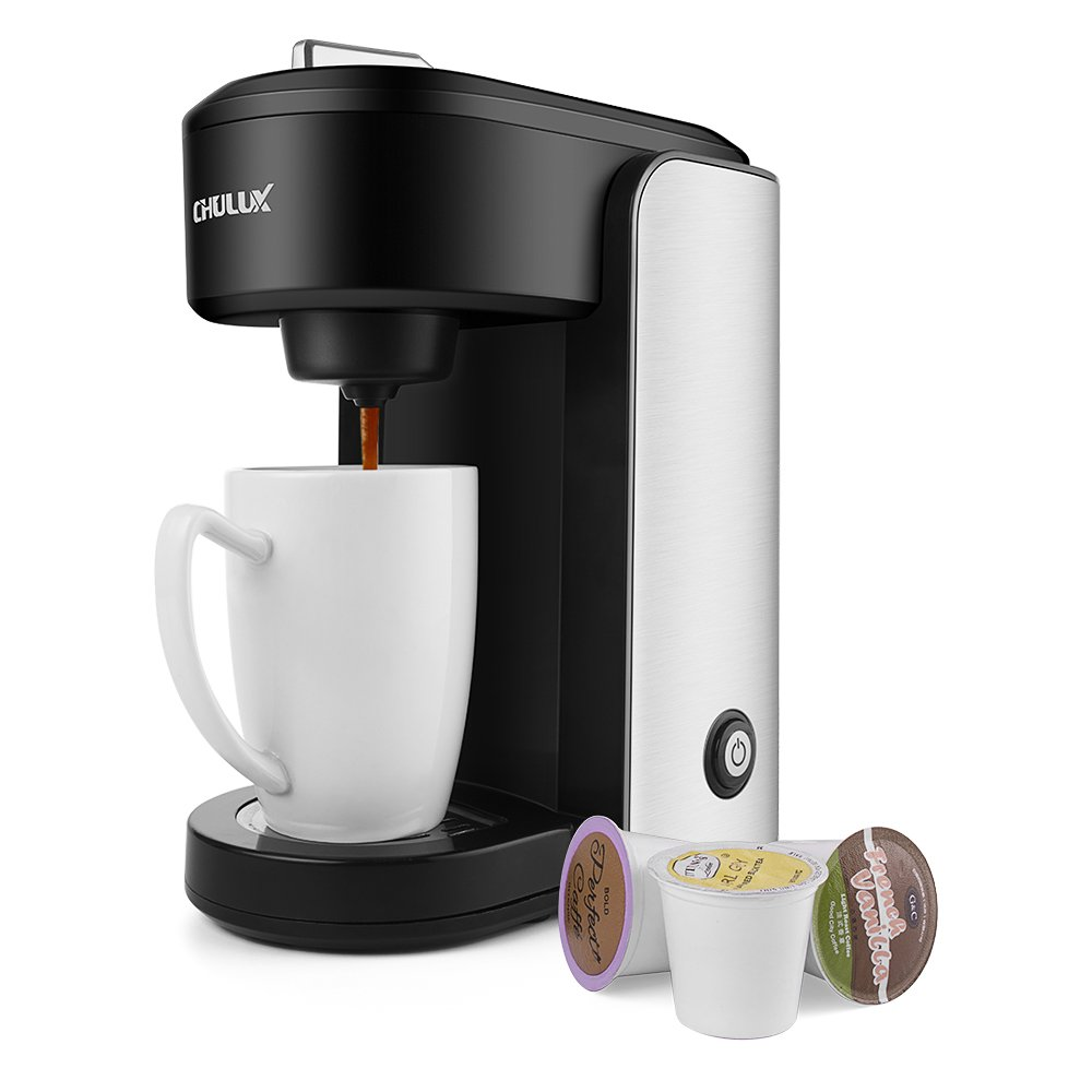 CHULUX Single Serve Coffee Maker,Stainless Steel Coffee Brewer with Gradient Water Reservoir,Auto Shut Off,1000 Watts by CHULUX