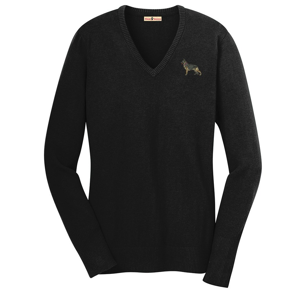 YourBreed Clothing Company German Shepherd Embroidered Ladies V-Neck Sweater