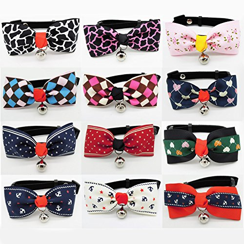 PETFAVORITES Dog Cat Bow Tie Collar - Suede Kitten Bowtie with Bell for Small Dogs - Yorkie Chihuahua Clothes Birthday Costume Outfits Accessories, Neck Size 7.1'-11.8', 12 Pack (Pattern A+B)
