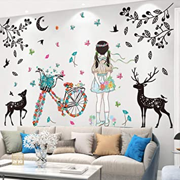 Amazon Com Superduo Streamer Girl Street Lamp Deer Room Wall Decoration Diy Art Mural For Living Room Kindergarten Girl Bedroom Home Improvement