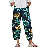 VEMOW Linnebyxor damer vår sommar bomull linne fritidsbyxor med fickor elegant elastiskt linne byxor sommar bohemisk…