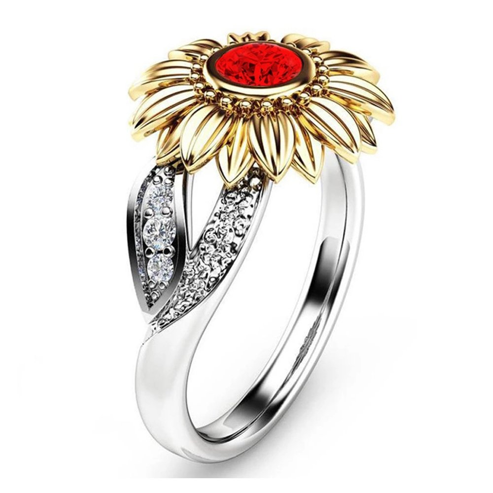 cf86519ff0abf YOUNICE Women Two Tone Silver Floral Ring Diamond Gold Sunflower Jewelry  Mother Gift