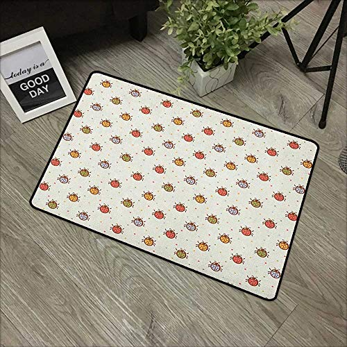 Interior Door mat W24 x L35 INCH Ladybugs,Pastel Color Vintage Stylized Faded Bugs Setting Nostalgic Good Luck Childhood Theme, Multi Non-Slip Door Mat Carpet