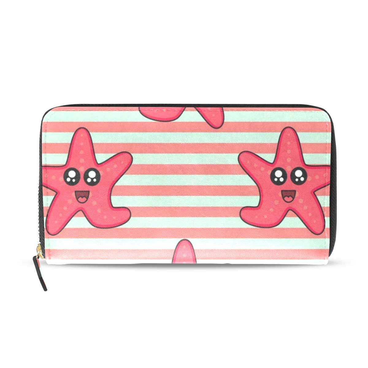 Womens Wallets Cute Starfish Leather Passport Wallet Change Purse Zip Handbags