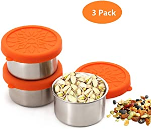 Stainless Steel Condiment Containers with Lids,3 Pack Leak Proof Salad Dressing Containers with Lids,1.6oz Mini Metal Condiment Cups with Lids,Reusable Sauce Cups with Lids for Condiments,Sauce