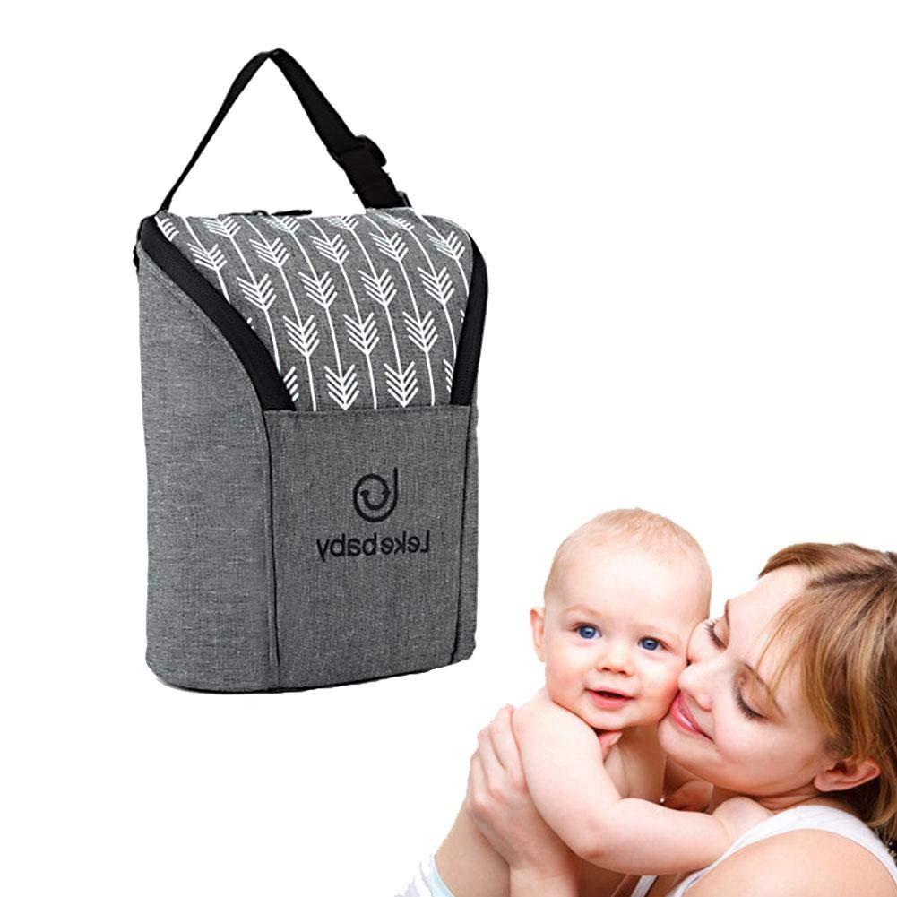 XISOTRE Baby Flasche Tasche mit Flaschentasche Isoliert Muttermilch Erhaltung Tasche tragbar Mini Kleine Größe Baby Flasche Tasche Keep Warm und Cool Wasser Flaschenhalter grau