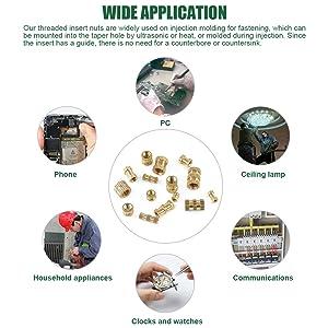 Keadic 370PCS M2 M3 M4 M5 Female Thread Knurled Nut Brass Threaded Insert Embedment Nuts Assortment Kit