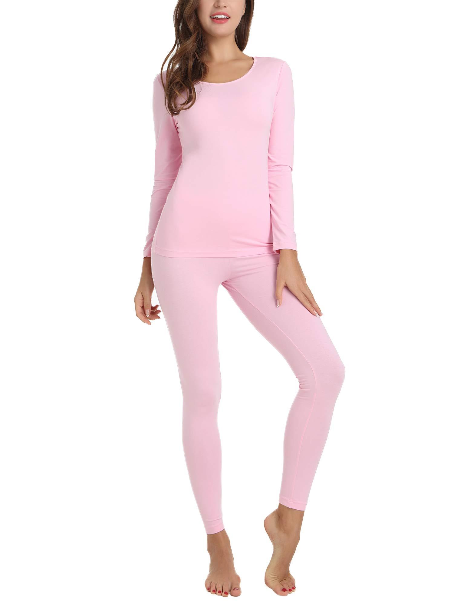 Amorbella Womens Thermal Pajama 2 Pc Long John Set Top and Bottom Underwear Ultra Soft Smooth Knit (Pink,XXL)