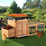JAXPETY 93'' Chicken Coop Backyard Hen Nest Box Deluxe Wooden Rabbit House Wood Hutch with Rooftop Planter