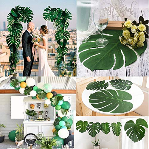 48pcs Large Artificial Tropical Palm Leaves,13.8 by 11.4 inch,Hawaiian Luau Party Jungle Beach Theme Decorations for Table Decoration Accessories
