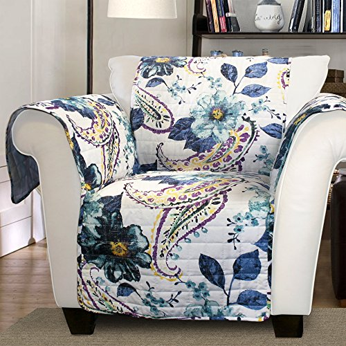 - Lush Decor Floral Paisley Slipcover/Furniture Protector for Armchair, Blue