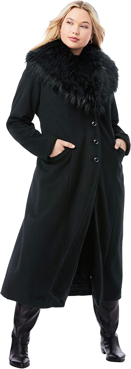 1940s Style Coats and Jackets for Sale Jessica London Womens Plus Size Long Wool-Blend Coat with Faux Fur Collar $126.88 AT vintagedancer.com