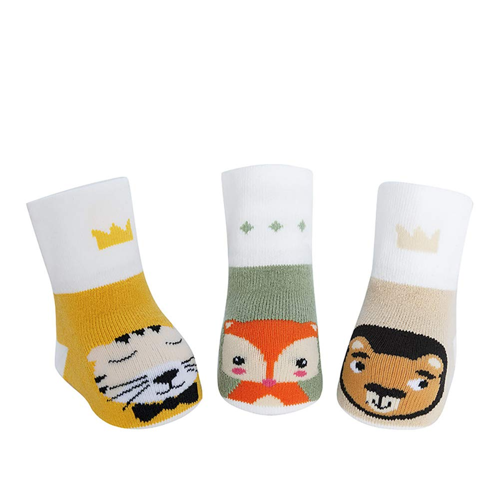 MoonxHome 3 Pairs Terry Cartoon Baby Socks Thick Cotton Socks Anti Slip 0-3 Years Old