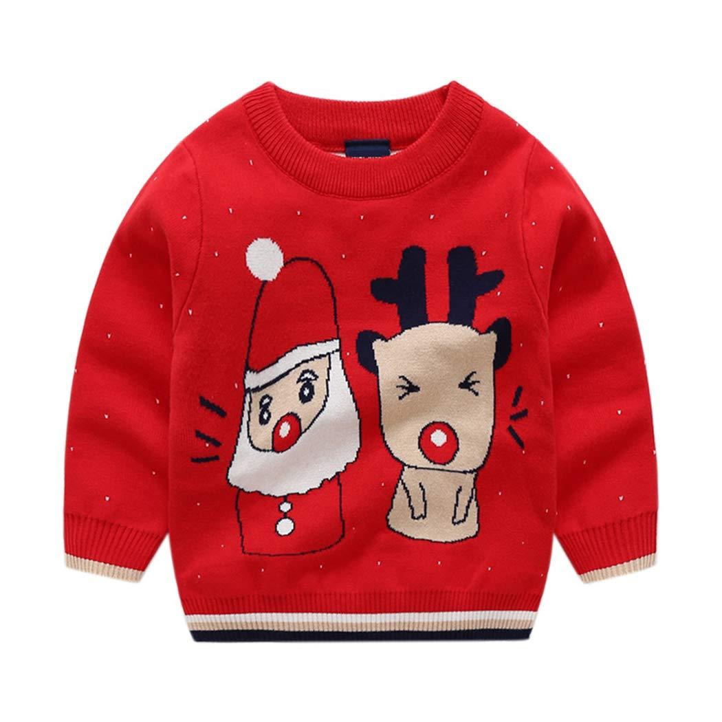 AIKSSOO Kid Unisex Cute Christmas Outfit Santa Reindeer Sweater Top Knit Pullover