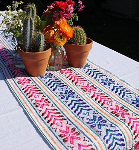 Del Mex Woven Rebozo style Mexican Table Runner Scarf