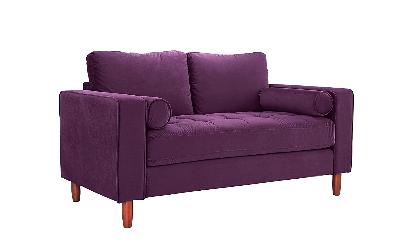 Divano Roma Furniture Couch for Living Room, Tufted Velvet Fabric Sofa with Back Cushions, Tufted Bottom and 2 Extra Cushions (Purple)