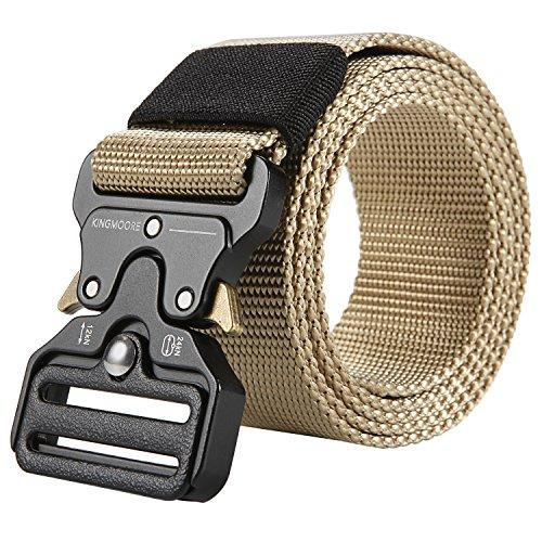 Men's Tactical Belt Heavy Duty Webbing Belt Adjustable Military Style Nylon Belts with Metal Buckle by KingMoore (Image #2)'