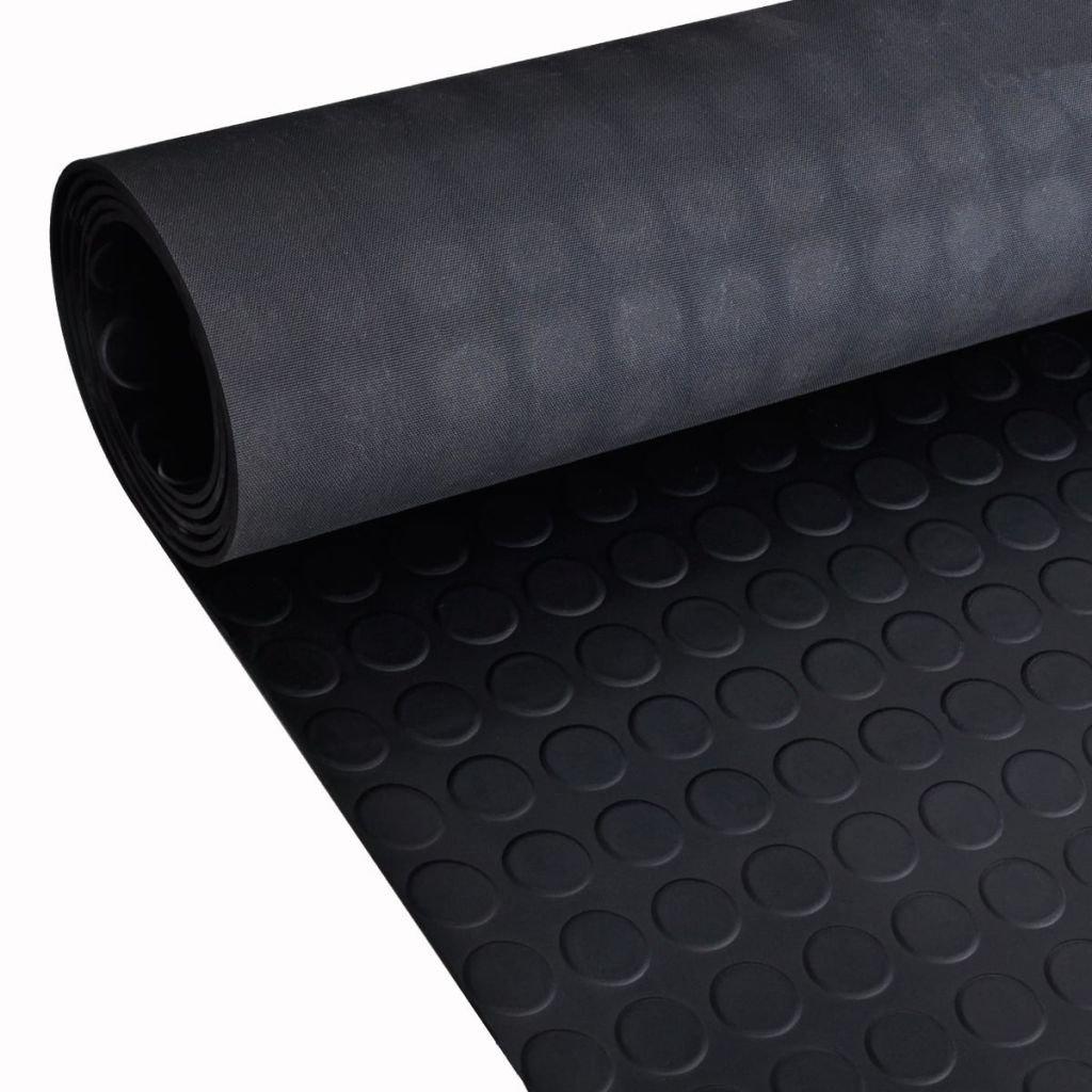 vidaXL Anti-Slip Rubber Safety Floor Mats Round Dotted Door Rug Home Carpet 7' x 3'