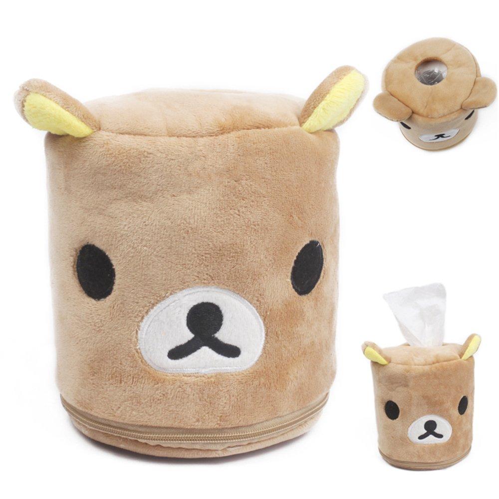 E.a@market Plush Cartoon Cute Animal Soft Tissue Box Holder (Brown Bear)