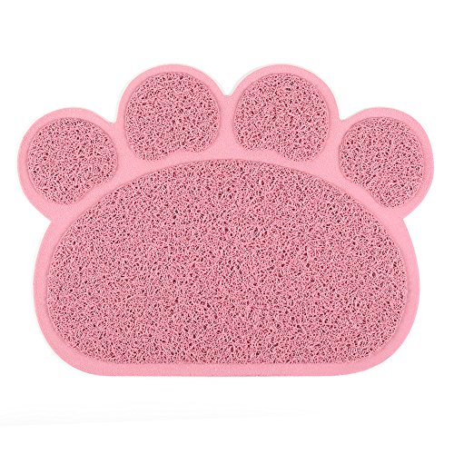 IPETTIE Pet Feed Litter Tracking Mat, Traps Messes, Water Resistant, Easy Clean & Anti-Slip Cat Litter Mat Perfect Feed Fountain, Soft Kitty Paw Litter Mat(Pink)
