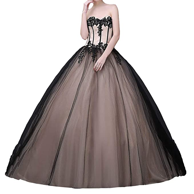 Lemai Long Ball Gown Black Gothic Lace Prom Dresses Corset
