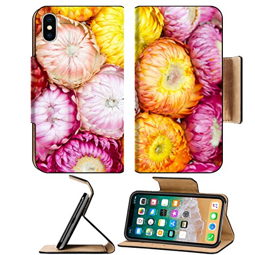 MSD Premium Apple iPhone X Flip Pu Leather Wallet Case Floral chaos abstract collage from simple summer flowers background Image ID 24959628