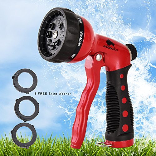 BEST Premium Durable Garden Hose Nozzle – Hand Sprayer Heavy Duty 8 Adjustable Pattern Metal Watering Gun – High Pressure - Perfect for Garden Plants Lawn Car Wash Cleaning Dogs & Pets (10) by AvimaBasics