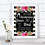 Black & White Stripes Pink Drink Champagne Dance Stars Personalized Wedding Sign