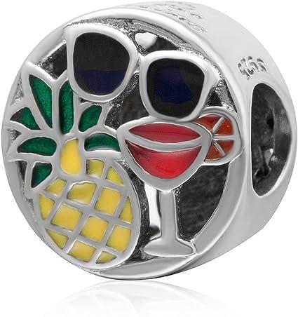 925 Sterling Silver Vintage Old Stock Art Glass Martini Glasses Charm Pendant